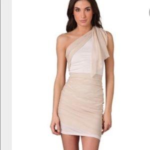 Alice & Olivia Ruched Knit Dress Beige XS 2 Silk